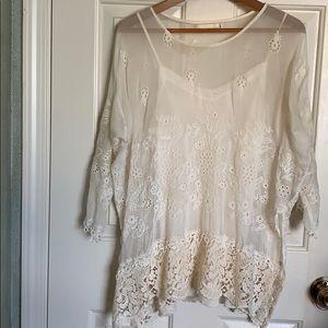4 love & liberty cami & silk lace blouse ecru